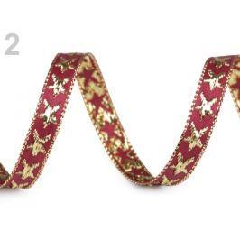 Vianočná stuha hviezda s lurexom šírka 10 mm červená karmínová 45m Stoklasa