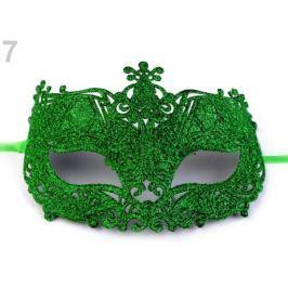 Karnevalová maska - škraboška s glitrami 2. akosť zelená pastelová 27ks Stoklasa