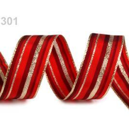 Vianočná stuha s lurexom a drôtom šírka 25 mm červená 200m