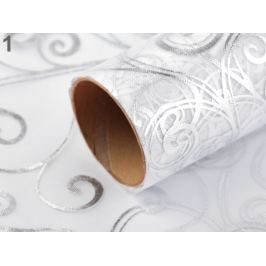 Organza svadobná s potlačou šírka 36 cm biela 36m Stoklasa