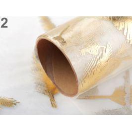 Organza s potlačou a glitrami šírka 36 cm zlatá / strieborná zlatá 36m Stoklasa