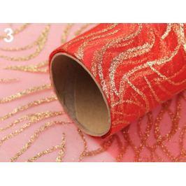 Organza s glitrami šírka 36 cm vlnky červená 81m Stoklasa
