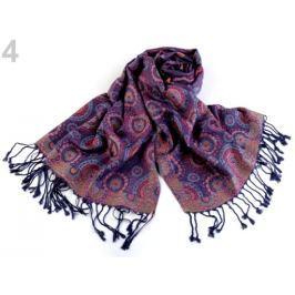 Šál typu pashmina so strapcami 68x175 cm fialová tm. 1ks Stoklasa