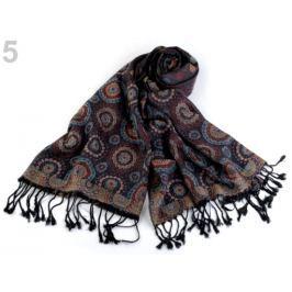 Šál typu pashmina so strapcami 68x175 cm hnedo-čierna 1ks Stoklasa