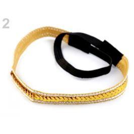 Pružná čelenka do vlasov s flitrami zlatá 6ks Stoklasa