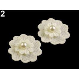 Čipkový kvet s perlou Ø40 mm Off White 50ks Stoklasa