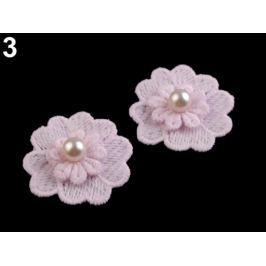 Čipkový kvet s perlou Ø40 mm ružová najsv. 50ks Stoklasa