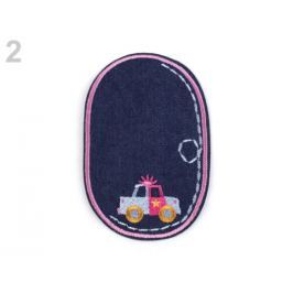 Nažehlovačka / záplata riflová auto ružová str. 10ks Stoklasa