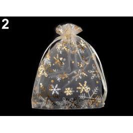 Darčekové vrecúško 13x18 cm organza s vločkami krémová najsvetl 10ks Stoklasa