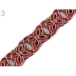 Vyšívaný prámik na monofile šírka 28 mm červená 13.5m Stoklasa