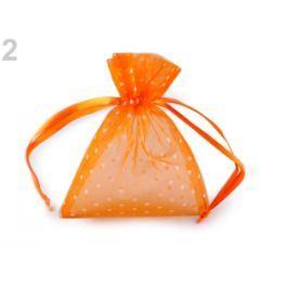 Darčekové vrecúško 10x13 cm organza s bodkami oranžová   10ks Stoklasa