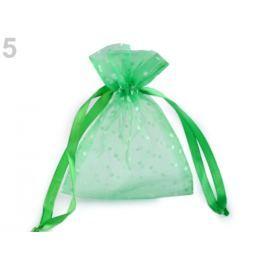 Darčekové vrecúško 10x13 cm organza s bodkami zelená pastelová 10ks Stoklasa