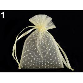 Darčekové vrecúško 13x18 cm organza s bodkami bielo žltá 150ks Stoklasa