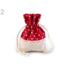 Ľanové vrecko s bodkami a čipkou 10x13 cm červená  1ks Stoklasa