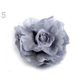 Brošňa / ozdoba ruža  Ø8 cm šedá holubia 1ks Stoklasa
