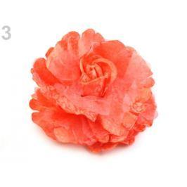 Brošňa / ozdoba ruža  Ø8 cm korálová sv. 3ks Stoklasa