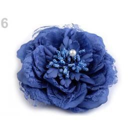 Brošňa / ozdoba ruža  Ø11 cm modrá safírová 1ks Stoklasa
