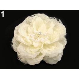 Brošňa / ozdoba ruža  Ø11 cm krémová sv. 4ks Stoklasa