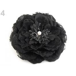 Brošňa / ozdoba ruža  Ø11 cm čierna 4ks Stoklasa