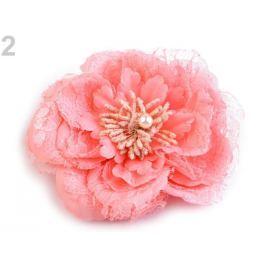 Brošňa / ozdoba ruža  Ø11 cm korálová sv. 4ks Stoklasa