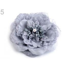 Brošňa / ozdoba ruža  Ø11 cm šedá holubia 4ks Stoklasa