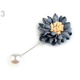 Ozdobný špendlík kvet a perla šedá 1ks Stoklasa