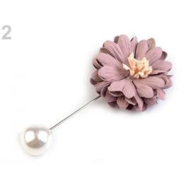 Ozdobný špendlík kvet a perla staroružová sv. 1ks Stoklasa