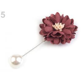 Ozdobný špendlík kvet a perla červená 5ks Stoklasa