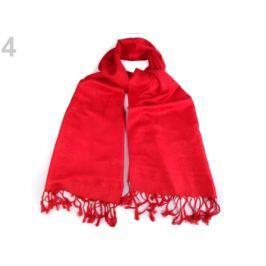 Šál typu pashmina jednofarebný so strapcami červená 1ks Stoklasa
