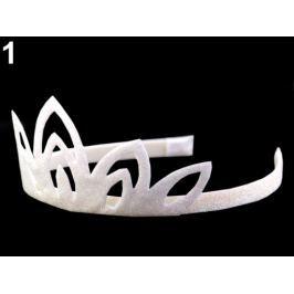 Karnevalová čelenka - korunka s glitrami v krabičke biela 3ks