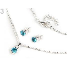 Náhrdelník a náušnice s brúsenými kameňmi - jablonecká bižutéria blue zirkon 3sada