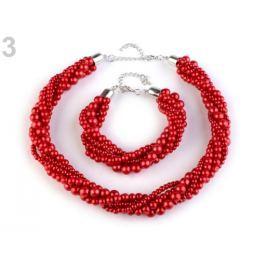 Perlový náhrdelník a náramok červená  1sada Stoklasa