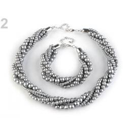 Perlový náhrdelník a náramok šedá 3sada Stoklasa