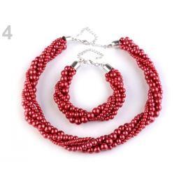 Perlový náhrdelník a náramok červená 3sada Stoklasa