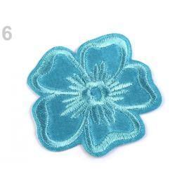 Nažehlovačka vyšívaný kvet tyrkys sv. 200ks Stoklasa