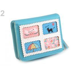 Peňaženka so strapcom 9x11,5 cm modrá azurová 5ks Stoklasa