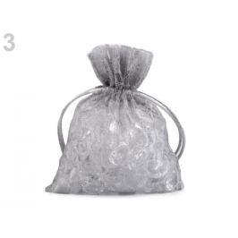 Darčekové vrecúško čipkované 10x13 cm šedá perlovo 10ks Stoklasa