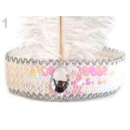 Karnevalová čelenka flitrová s perím retro biela 1ks Stoklasa