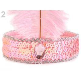 Karnevalová čelenka flitrová s perím retro ružová sv. 5ks Stoklasa