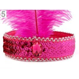 Karnevalová čelenka flitrová s perím retro fialovoružová 5ks Stoklasa