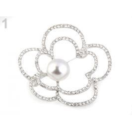 Brošňa kvet s perlou a brúsenými kamienkami crystal 1ks Stoklasa
