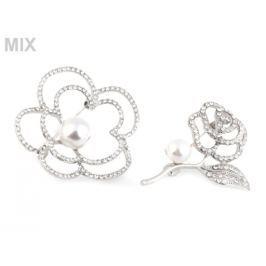 Brošňa kvet s perlou a brúsenými kamienkami Stoklasa