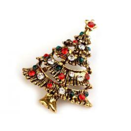 Brošňa s brúsenými kamienkami vianočný stromček zlatá 1ks Stoklasa