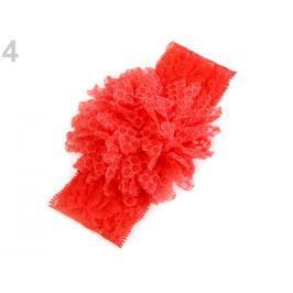 Detská elastická čelenka do vlasov, čipkovaná s kvetom červená výrazná 1ks Stoklasa