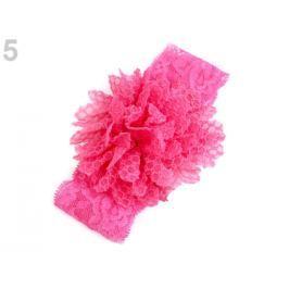 Detská elastická čelenka do vlasov, čipkovaná s kvetom ružová 1ks Stoklasa