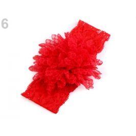 Detská elastická čelenka do vlasov, čipkovaná s kvetom červená 1ks Stoklasa
