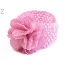 Detská elastická čelenka do vlasov s kvetom ružová sv. 36ks Stoklasa