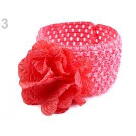 Detská elastická čelenka do vlasov s kvetom ružová tm. 36ks Stoklasa