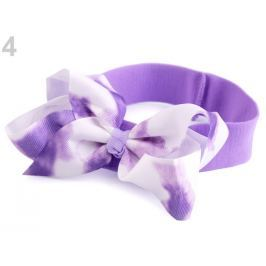 Detská elastická čelenka do vlasov s mašľou fialková 36ks Stoklasa