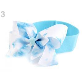 Detská elastická čelenka do vlasov s mašľou modrá azurová 36ks Stoklasa